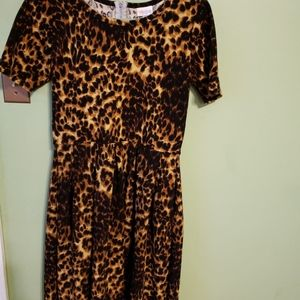 Lula roe Amelia dress with pockets Leopard print